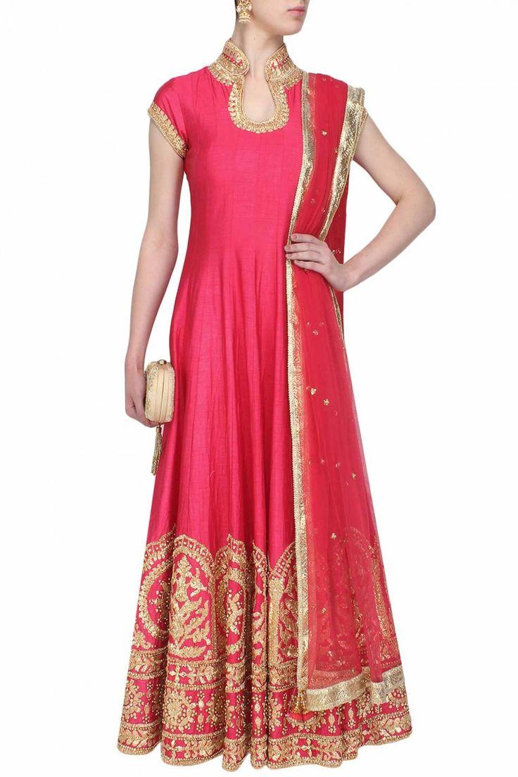 Rose pink gota patti embroidered anarkali set - Preeti S Kapoor