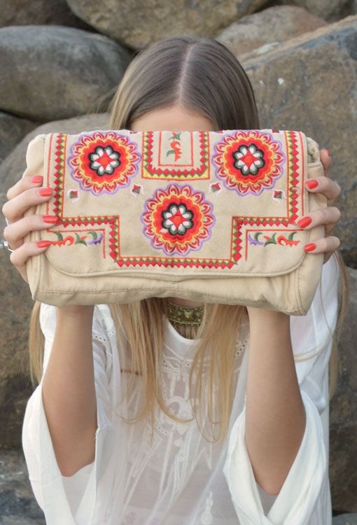 Mona Folklore Embroidered Clutch Bag