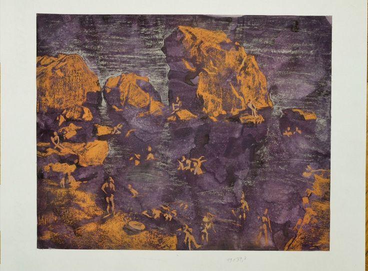"Г.Алупка, 2013г., техника: приматура/ пастель, размер: 50*60, ""Лягушатник"""
