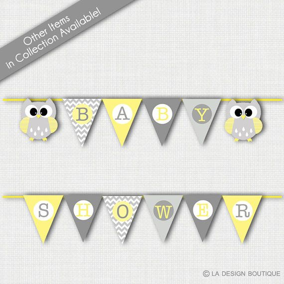 Owl Baby Shower Gray and Yellow Baby by LaDesignBoutiqueShop only $5 for a printable banner!  So cute and elegant!