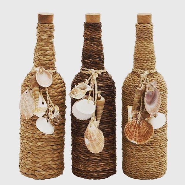 Como decorar garrafas com conchinhas