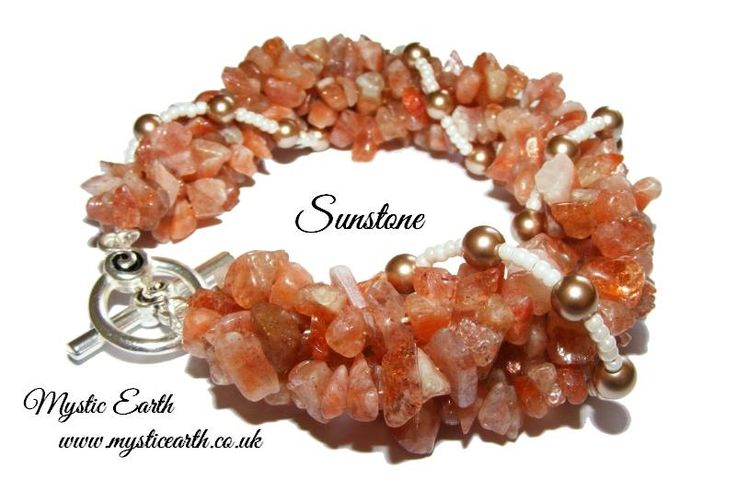 Super Chunky Sunstone and Swarovski Pearl Bracelet.   This fabulously chunky bracelet is packed full of Sunstone Gemstone chips and adorned with Copper Swarovski Pearls. This bracelet is approx 7 1/2 inches in length and fastens with a decorative silver plated toggle clasp. £20 plus p&p (UK) http://mysticearth.co.uk/sunstoneandpearlbracelet.html