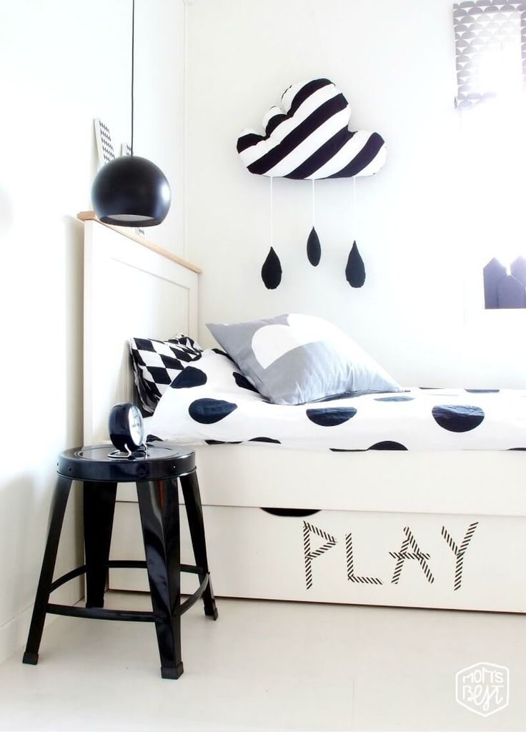 Monochrome kids room. Look at the wonderful cloud! It bring good vibes!