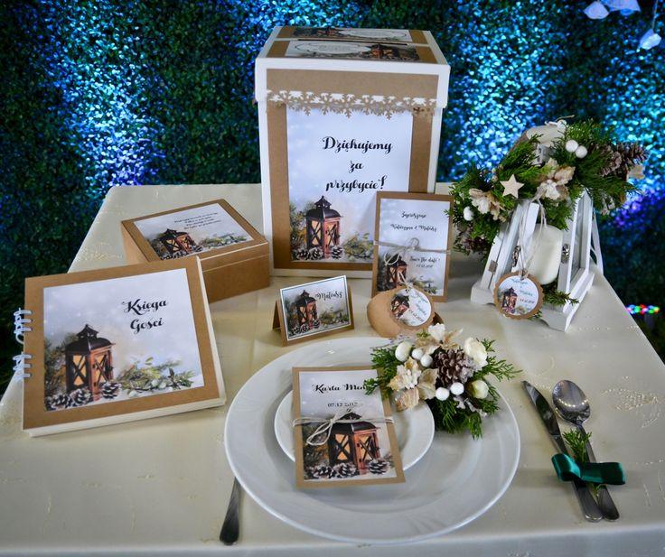 zaproszenia ślubne rustykalne z latarenką świąteczne invitation christmas wedding with latern  with rustic style