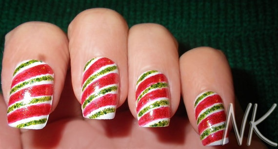 Candy Cane - Hand Painted Acrylic Nail Tips
