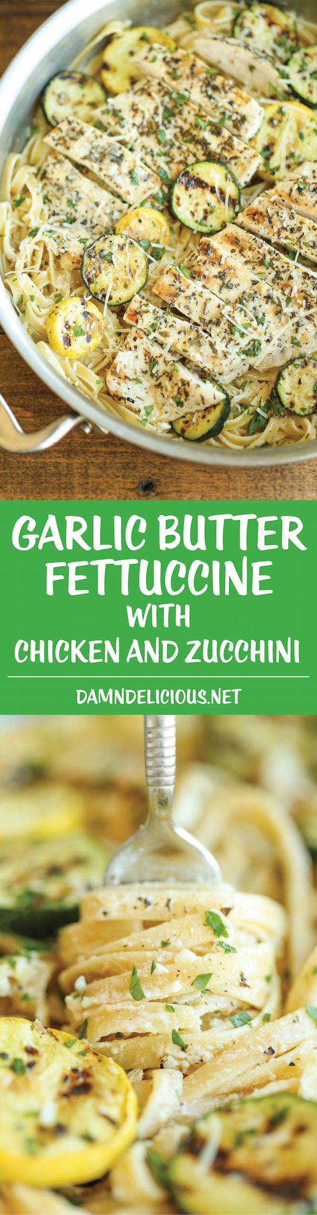 Garlic Butter Fettuccine with Chicken and Zucchini: So buttery, so garlicky, and just so creamy! Made with lemon-herb chicken and crisp-tender zucchini.
