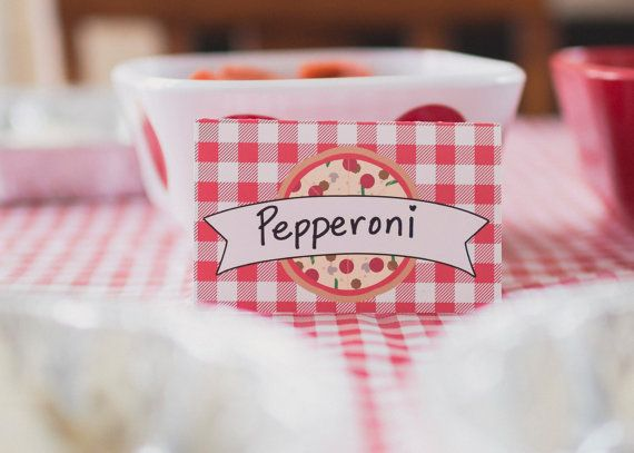Pizza Party Food Tents Pizza Party Food Labels by thelovelyapple, $8.00