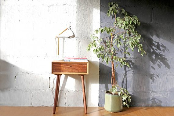 Mid-century Oak Scandinavian Style Night Stand | Vintage Walnut Bedside Table | Retro Bedroom Furniture | Eames Style Bed Side Table