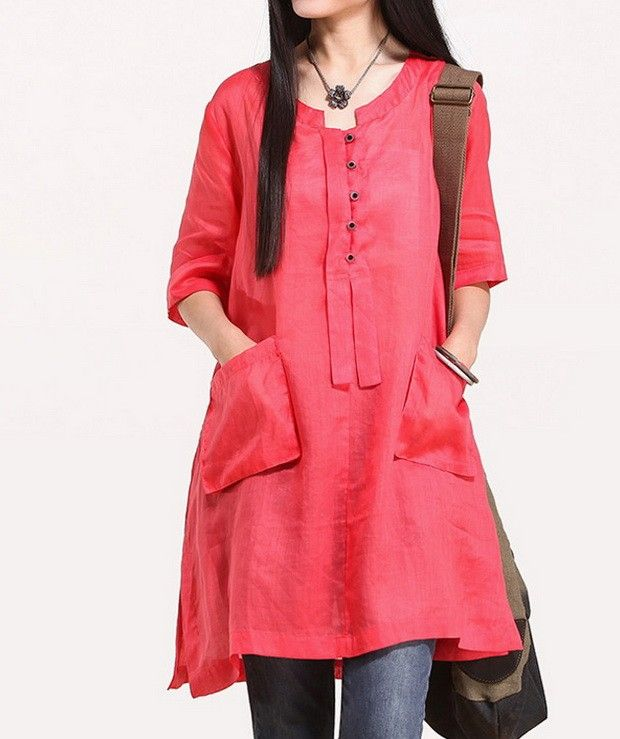 Side Pockets Rould Collar Half Sleeve Linen Shirt