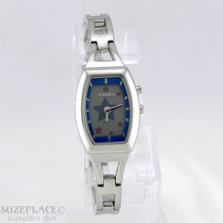 FOSSIL BIG TIC WOMANS WATCH RED & BLUE STARS WR 100 FT ES-9737 NEW BATTERY #Fossil #Suzeplace.com