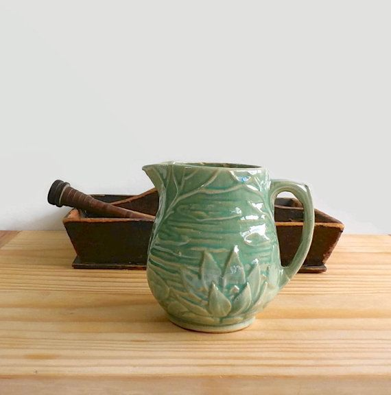 Vintage McCoy Pottery Pitcher Water Lily by DairyFarmAntiques