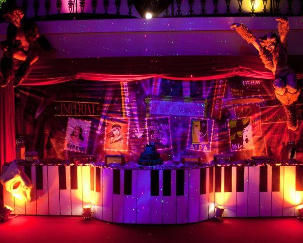 """Para compor a mesa de doces e bolo dessa festa de aniversário com tema Broadway, a decoradora Roberta Niemeyer criou um painel com cartazes de musicais famosos. O ambiente ganhou um ar ainda mais especial graças aos dois bonecos que remetem aos personagens do musical """"Cats"""", suspensos na lateral da mesa"""