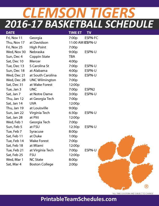 Clemson Tigers Basketball Schedule 2016-17. Print Here - http://printableteamschedules.com/NCAA/clemsontigersbasketball.php