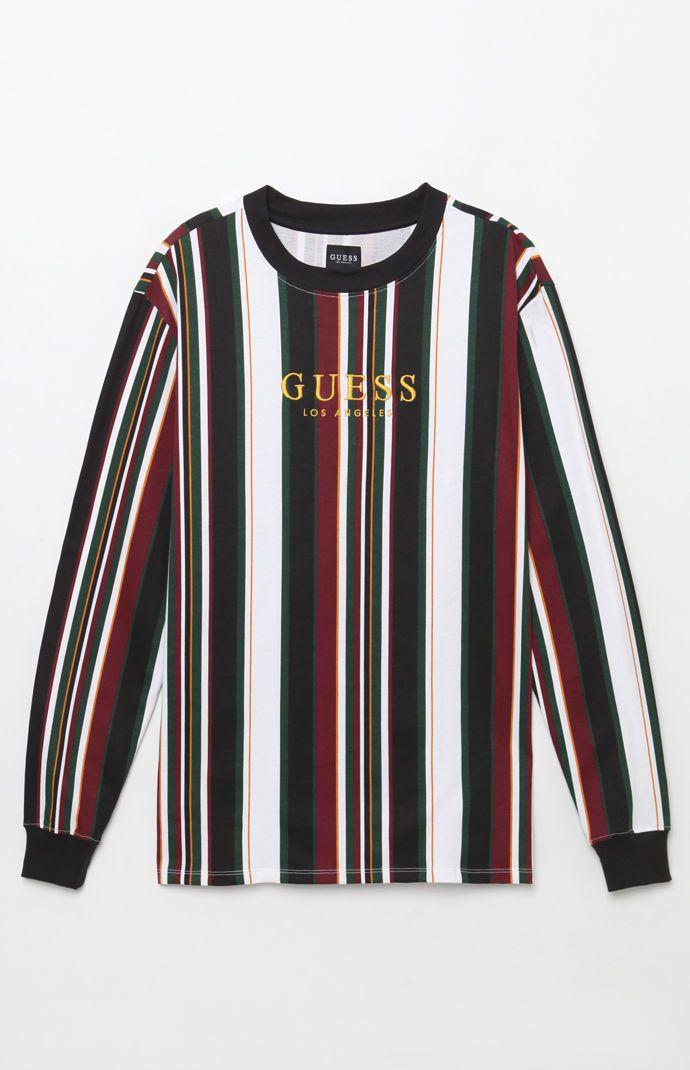 b38701fd16 Guess Ashton Stripe Long Sleeve T-Shirt from PacSun | Menswear in ...