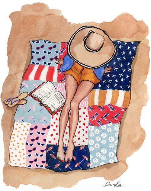 illustration : liseuse à la plage