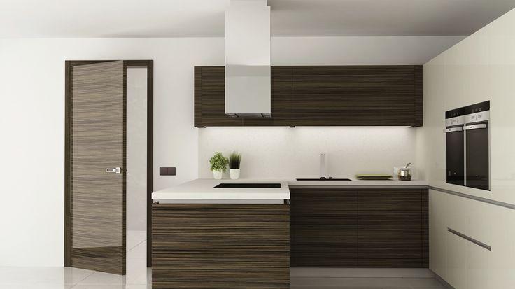 interierove dvere HANAK na mieru, tmava lakovana dyha, rovnaky material je pouzity v kuchynskej linke na mieru #URGELA#HANAK