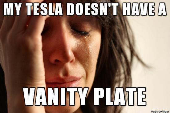 All Teslas have vanity license plates