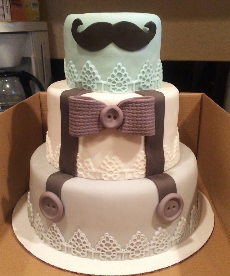 Little man theme baby shower cake. Bow tie, suspenders and mustache fondant decor. Used FMM textured lace cutters for base border. Link attached from where I got the design from.