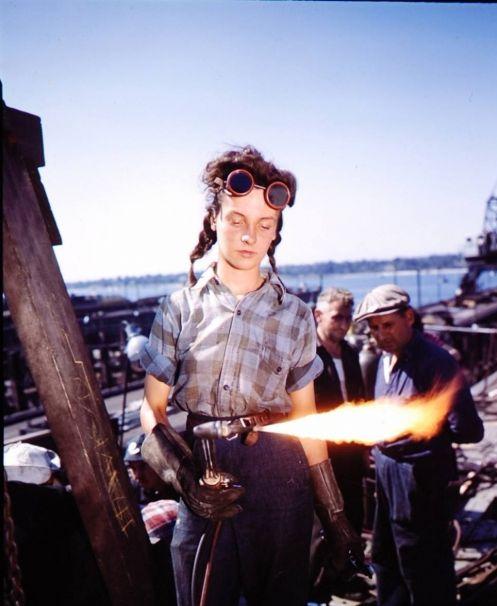 Girl welder, 12, for the Australian Air Force in 1943