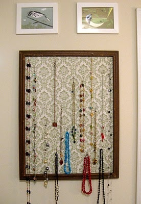 Picture frame & fabric jewelry holder-another good jewelry idea!