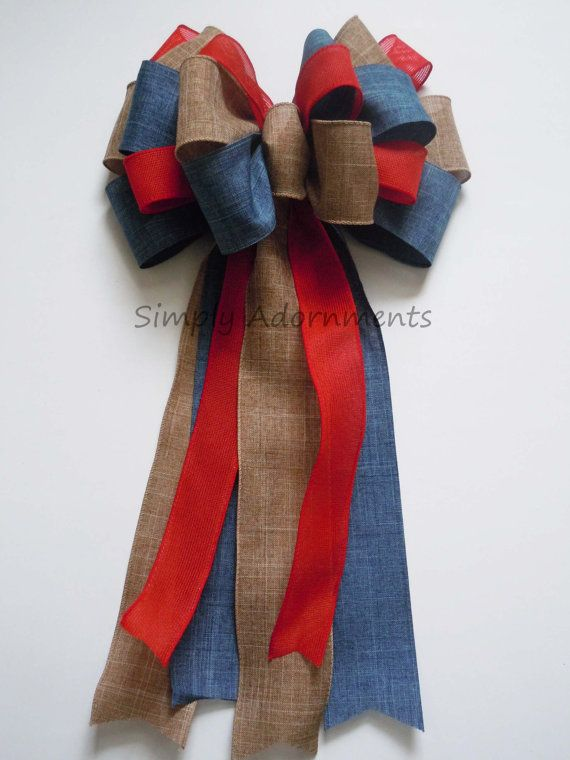 Rustic Red Blue Burlap Patriotic Wedding Pew Bow Fourth of July Bow Independence Day Bow Election Day Bow $13.99+