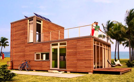 The MEKA World prefabricated shipping container homes are completely finished inside and out.  They are wired plumbed and well insulated.  Bathroom fixtures are installed as are kitchen cabinets solar panels and rainwater catchment systems.