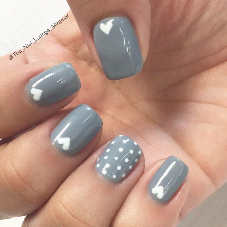Gray dots hearts nail art design