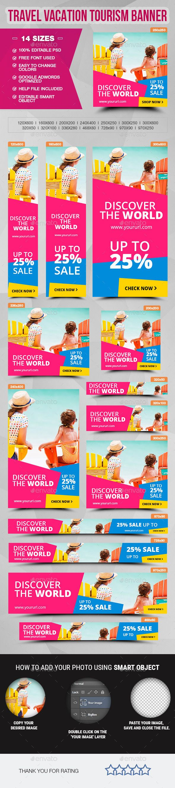 Travel Vacation Tourism - Ads Banner Template #design #web #ads Download: http://graphicriver.net/item/travel-vacation-tourism-ads-banner/12683548?ref=ksioks