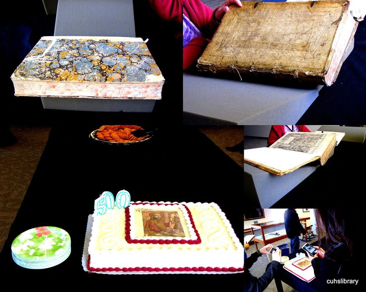 Collage of #CUHSLibrary celebration of Vesalius' 500th birthday. Event on November 19, 2014. Crowd of people enjoyed viewing of original, new copy, fellowship, snacks & cake.