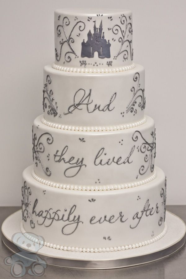 Happily Ever After Writing On Wedding Cake