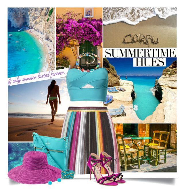 """""""CORFU"""" by gustosa ❤ liked on Polyvore featuring Freestyle, H&M, Missoni, Kate Spade, San Diego Hat Co., Jamie Joseph, Forever 21, Antica Murrina and Manolo Blahnik"""
