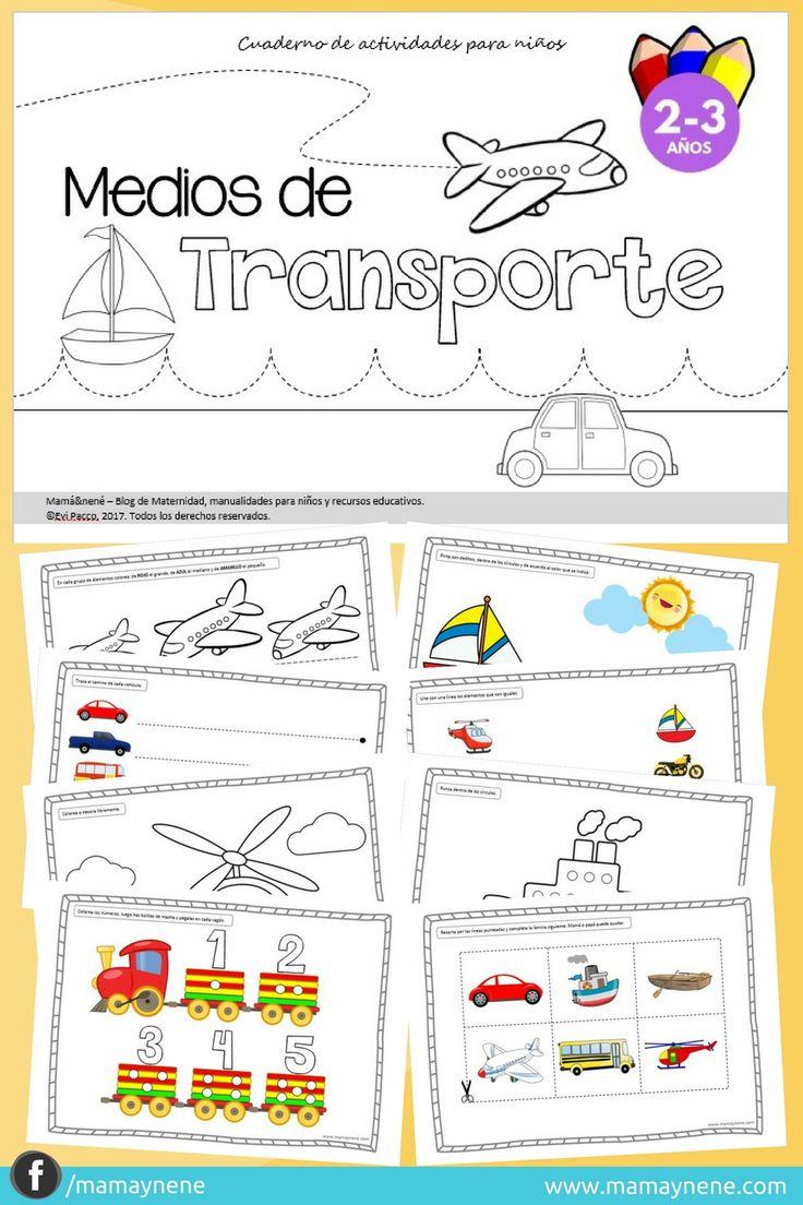 Cuaderno de Actividades Medios de transporte, para preescolar - mamaynene blog