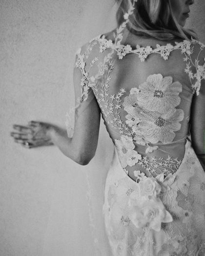floral, lace, wedding dress