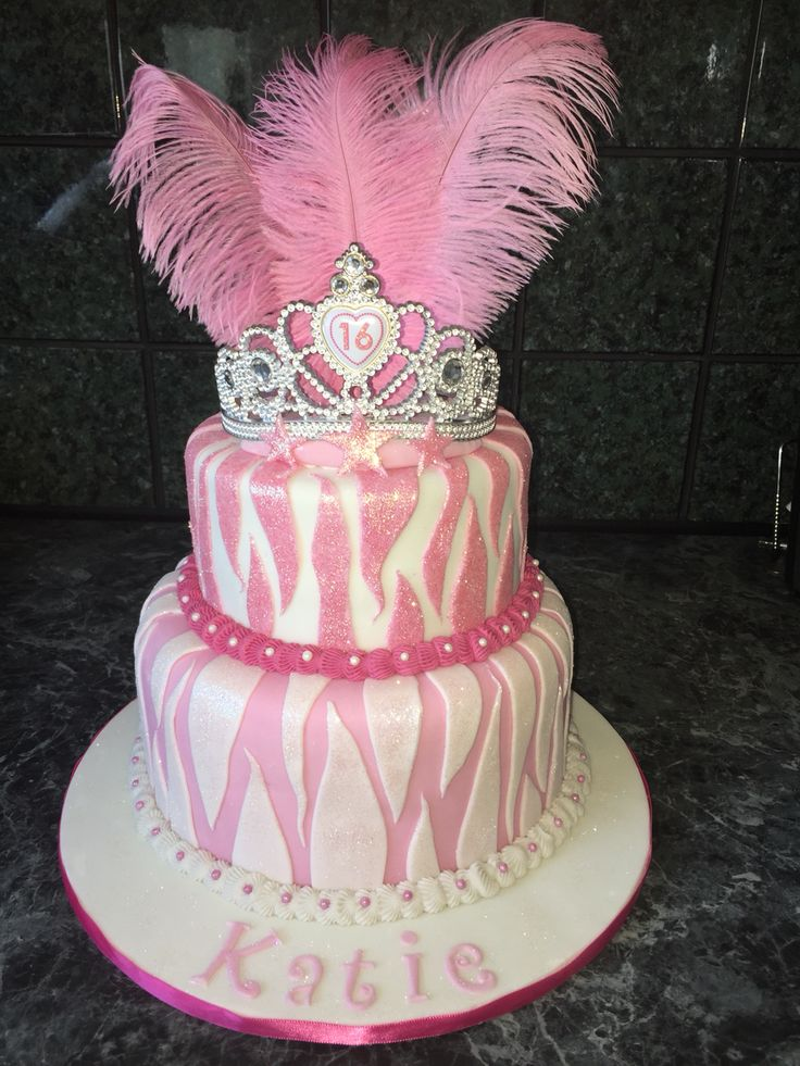 Bling and feathers, love this 16th birthday cake .