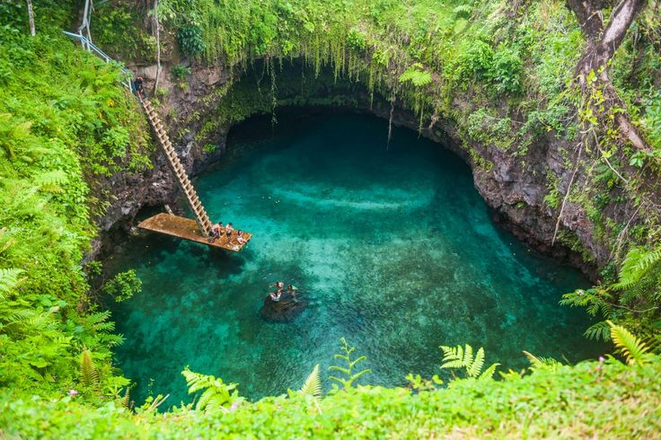 There's swimming holes, then there's To Sua Ocean Trench. This 100-foot-deep jade green, saltwater swimming hole is on a volcanic island in Samoa. It's nothing short of magical and worthy of a pilgrimage to the South Pacific alone.