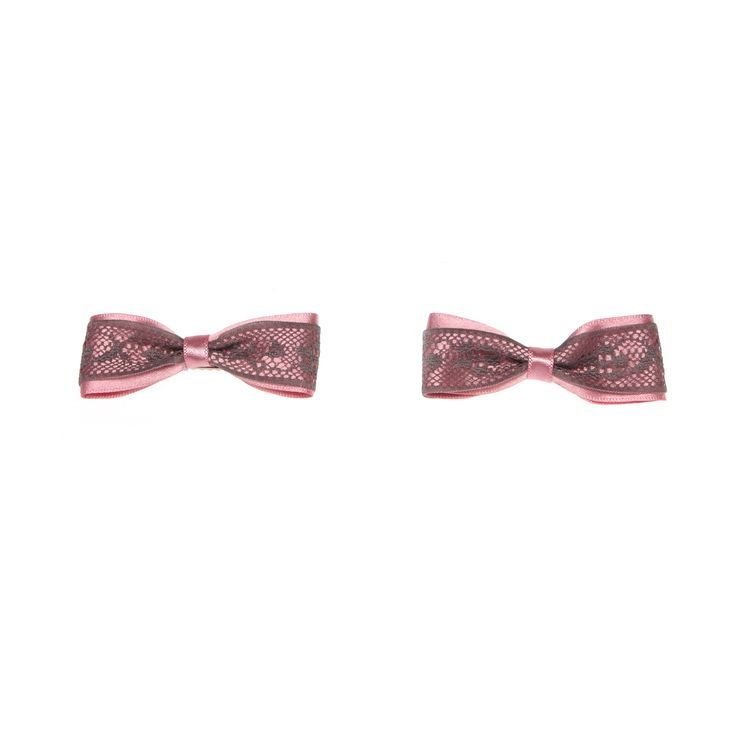 Pink Satin Bow Hair Clips with Lace Trimming