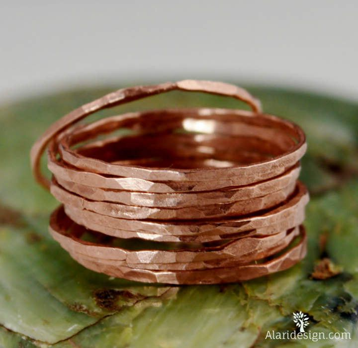 Super Thin Pure Copper Rings: These rings are minimal and simple. Dainty Pure Copper bands. Copper jewelry has a very Bohemian vibe to it and is a beautiful addition to any outfit. - Delicate hammered