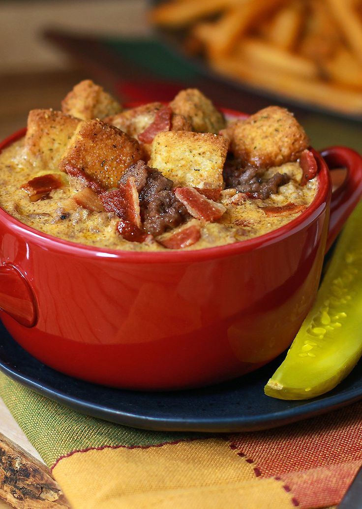 Bacon Double Cheeseburger Beer Cheese Soup is loaded with thick cut ...