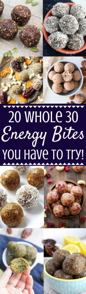 Doing a Whole 30 and wondering what to keep on hand for an emergency snack? Check out these 20 Whole 30 Energy Bites You Have To Try – all of which are gluten, grain, dairy + refined sugar free! #whole30 #healthy   paleo energy bites   whole 30 energy bites   whole 30 snacks   whole 30 recipes   whole 30 DIY   healthy snacks   healthy energy bites
