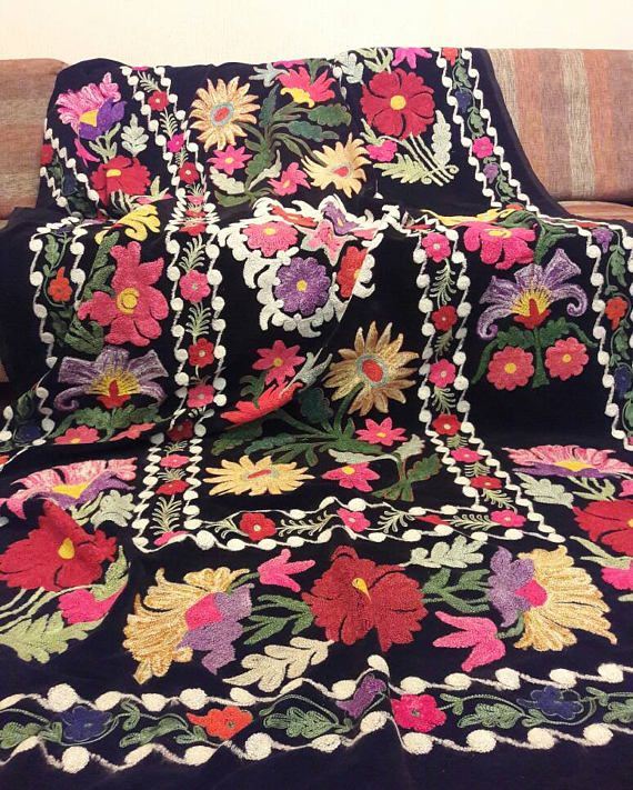 Uzbek  rare vintage silk velvet embroidery suzani.Tablecloth