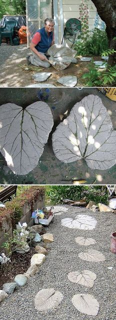 Rhubarb leaf stepping stones
