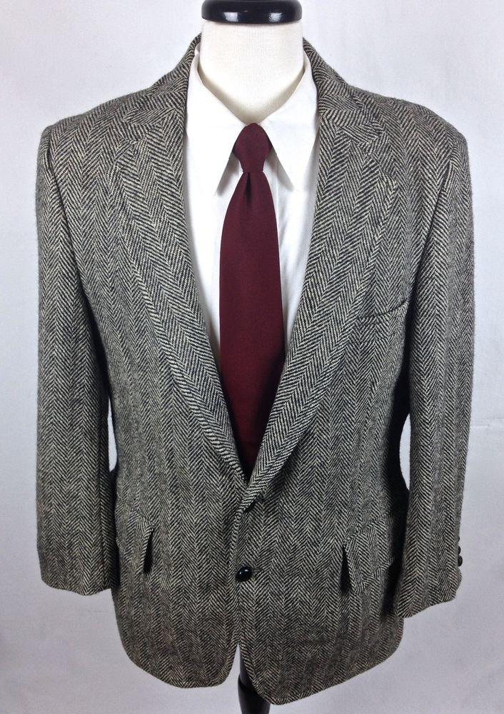 VTG Harris Tweed Blazer Scottish Wool Gray Sport Coat Hunting Jacket Mens 40 R #HarrisTweed #TwoButton