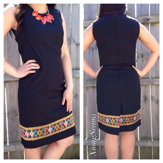 Hmong Lao Detailed Sheath Dress on Etsy, $65.00