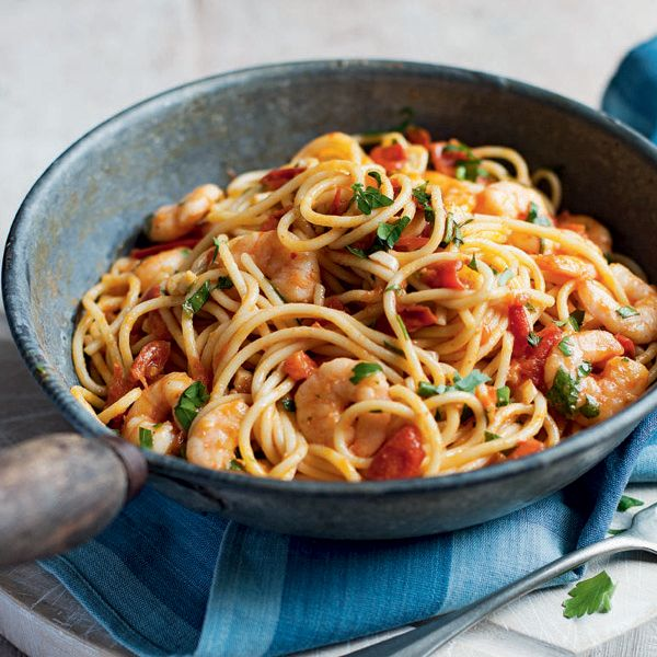 A Mediterranean inspired pasta supper, with the classic combination of chilli, tomato and prawn