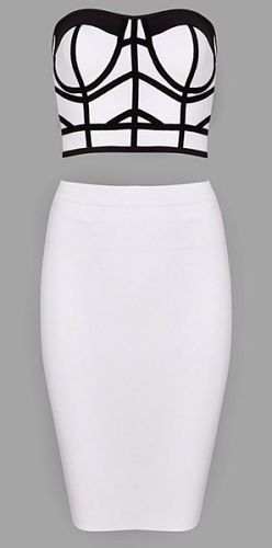 sexy, elegant, body-con fit , skirt above knee, skirt back zipper, crop top, exposed top zipper, two piece Material- 90% rayon /9% nylon/ 1% spandex Color - White/Black Size - X-Small, Small, Medium,