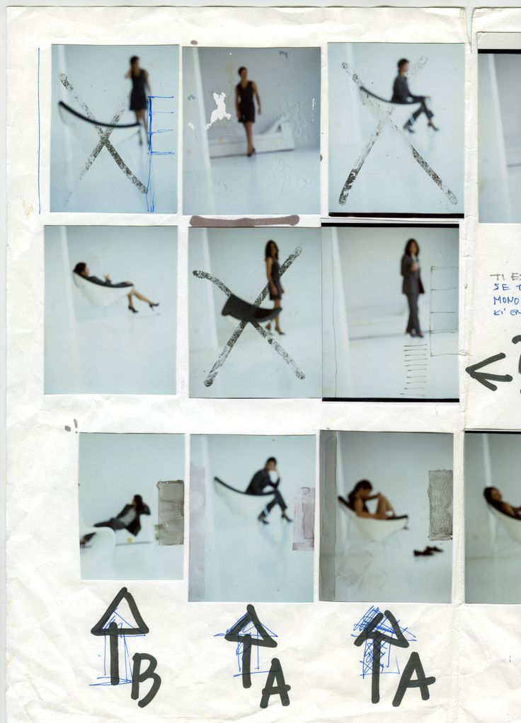 Contact sheet with hand-written notes by one of the brand's creative directors.