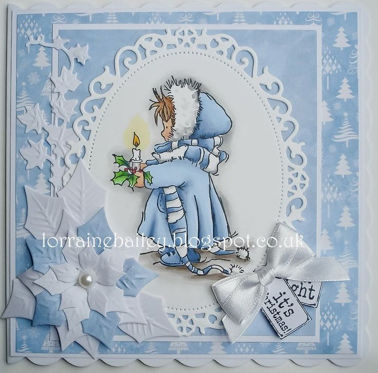 Lili of the Valley - Frosty Christmas card - love the white and blue color combo and the white/blue poinsettia - layout - bjl