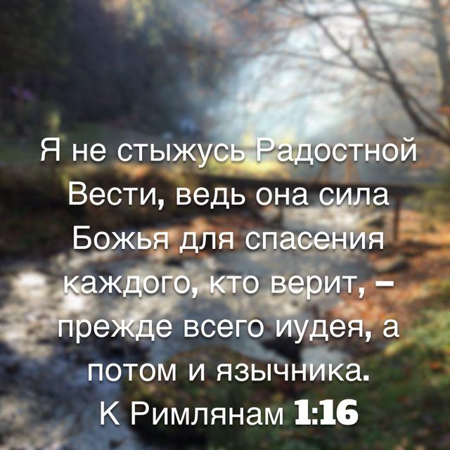 16 Я не стыжусь Радостной Вести, ведь она сила Божья для спасения каждого, кто верит, – прежде всего иудея, а потом и язычника. (К Римлянам 1:16 RSZ)