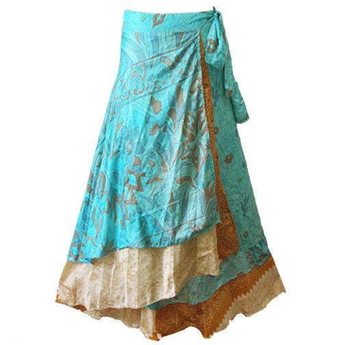 Buy 3 Get one FREE SURPRISE ME: Sari Silk Wrap Skirts: Plus, Regular, - Darn Good Yarn * Yarn made by India's Women