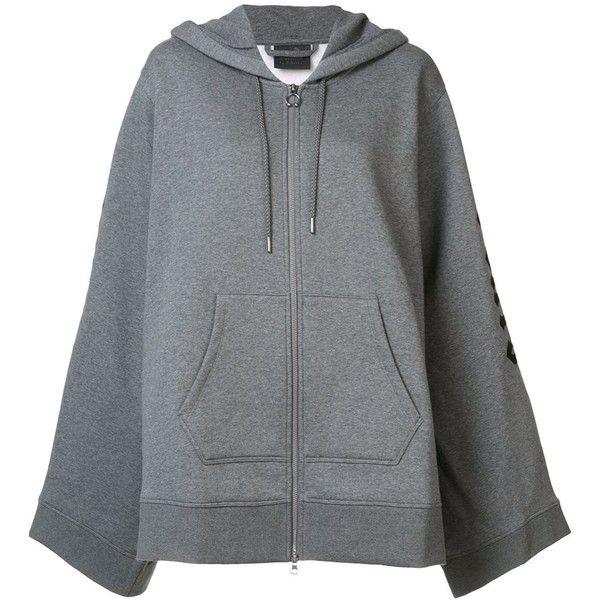 Puma x Fenty fleece zip-up hoodie (£275) ❤ liked on Polyvore featuring tops, hoodies, grey, fleece hoodies, zip up hoodie, grey hoodies, grey hoodie and zip up hoodies